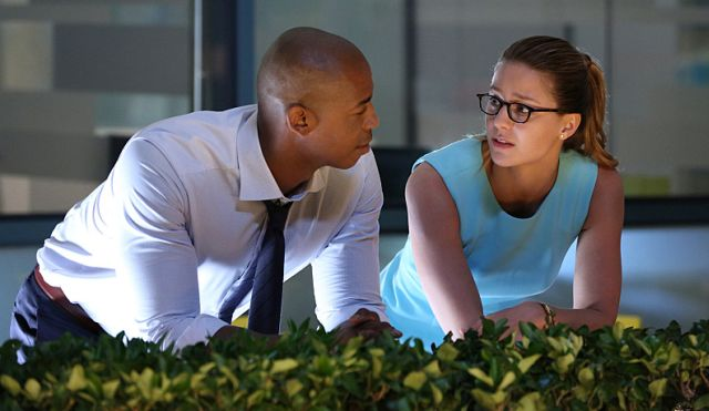 """Stronger Together"" -- When Kara's (Melissa Benoist, right) attempts to help National City don't go according to plan, she must put aside the doubts that she -- and the city's media -- has about her abilities in order to capture an escapee from the Kryptonian prison, Fort Rozz. Also, Cat pressures James ((Mehcad Brooks, left) to use his connection to Superman to get her an interview with Supergirl, when SUPERGIRL moves to its regular time period, Monday, Nov. 2 (8:00-9:00 PM, ET/PT) on the CBS Television Network. Photo: Michael Yarish/CBS ©2015 CBS Broadcasting, Inc. All Rights Reserved"