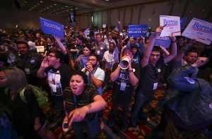 Supporters of Democratic presidential candidate Bernie Sanders react as U.S. Sen. Barbara Boxer, D-Calif., speaks during the Nevada State Democratic Party's 2016 State Convention at the Paris hotel-casino in Las Vegas on Saturday, May 14, 2016. Chase Stevens/Las Vegas Review-Journal Follow @csstevensphoto