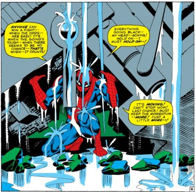 Amazing Spider-Man 33 - If This Be My Destiny. Peter Lifting a steel beam off of himself