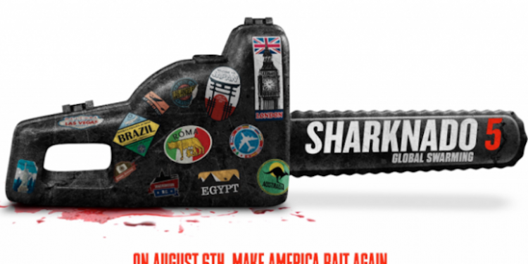 Sharknado 5 Poster - A Chainsaw with Make America Bait Again Underneath