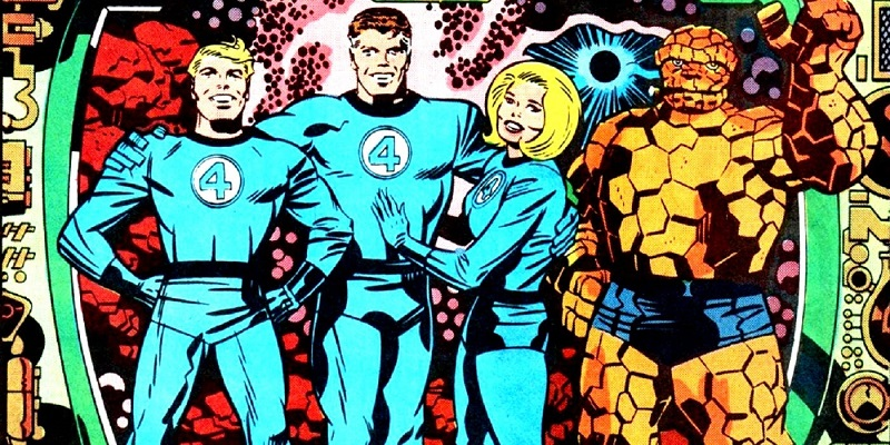 Johnny Storm, Reed Richards, Sue Storm, Ben Grimm in a Jack Kirby Panel