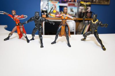 Nakia, T'Challa, Okoye, Killmonger Marvel Legends Black Panther figures