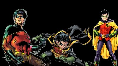 Tim Drake as Robin beside Damian Wayne as Robin