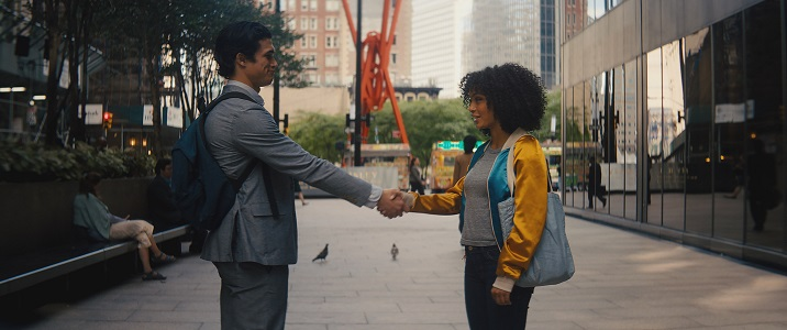 "THE SUN IS ALSO A STAR  Copyright: © 2019 WARNER BROS. ENTERTAINMENT INC. AND METRO-GOLDWYN-MAYER PICTURES INC. ALL RIGHTS RESERVED.  Photo Credit: Courtesy of Warner Bros. Pictures  Caption: (L-r) CHARLES MELTON as Daniel Bae and YARA SHAHIDI as Natasha Kingsley and in Warner Bros. Pictures' and Metro Goldwyn Mayer Pictures' romantic drama ""THE SUN IS ALSO A STAR,"" a Warner Bros. Pictures release."
