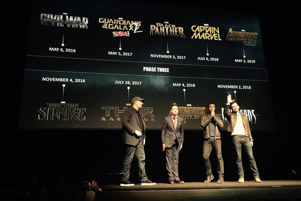 Kevin Feige, Robert Downey Jr, Chadwick Boseman & Chris Evans at the Phase 3 Announcement in 2014