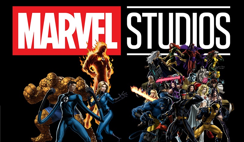 Fantastic Four and X-Men characters in front of Marvel Studios Logo