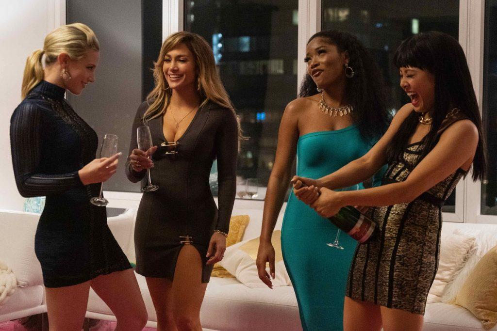 Hustlers:Annabelle (Lili Reinhart), Romona (Jennifer Lopez), Mercedes (Keke Palmer) and Destiny (Constance Wu) share champagne