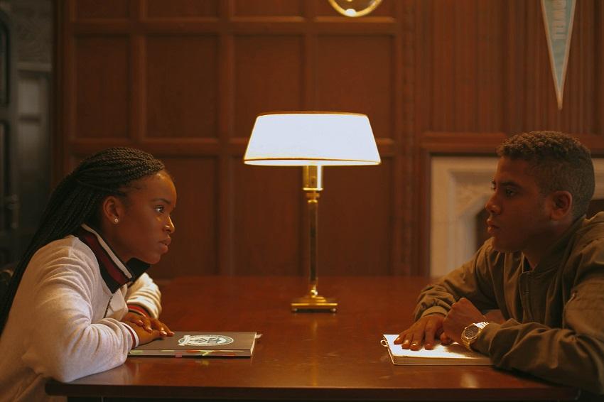 (L-R) Lovie Simone and Jharrel Jerome star in SELAH AND THE SPADES Photo: Courtesy of Amazon Studios