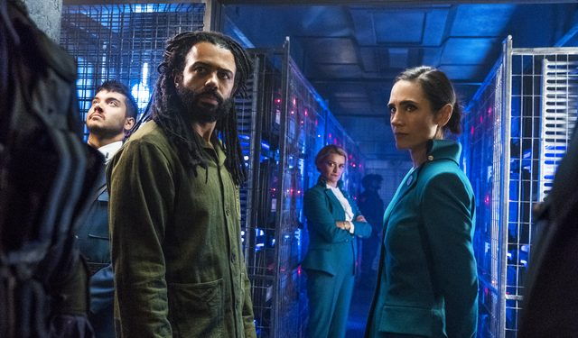 Jennifer Connelly, Daveed Diggs, Sam Otto, Alison Wright in Snowpiercer. Photograph by Justina Mintz