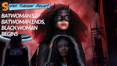 Super Tuesday Recap. Batwoman Ends, Black Woman Begins. Javicia Leslie as the new Batwoman stands next to the Batwoman suit