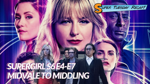 Background of Supergirl Season 6 Key Art overlaid with picture of Nia, Brainy, and Kenny Li in prom outfits next to young Cat Grant looking surprised.