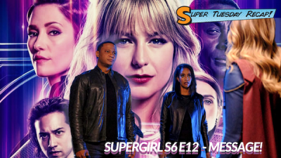 Key art for season 6 in the background. In the foreground, Kelly Olsen (Azie Tesfai) and John Diggle (David Ramsey) confronting Supergirl (Melissa Benoist)