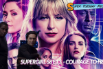 Supergirl season 6 Key Art in the background. In the foreground J'onn and Brainy looking questioningly at the camera.