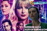 Supergirl season 6 key art in the background. In the foreground, Lena Luthor looking scared and stressed